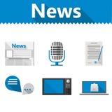 Ícones lisos para notícias ilustração stock