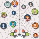 Ícones lisos para o conceito social da conexão dos meios e de rede Imagem de Stock