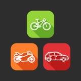 Ícones lisos para a Web e aplicações móveis com transporte privado Fotos de Stock Royalty Free
