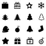 Ícones lisos pretos do Natal. Ícones do ano novo 2014. Fotografia de Stock