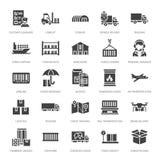 Ícones lisos que transportam, entrega expressa do glyph do transporte da carga, logística, transporte, costumes, pacote, seguindo ilustração stock