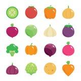 Ícones lisos redondos dos vegetais Fotografia de Stock Royalty Free