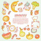 Ícones lisos redondos dos vegetais e dos frutos no coração Imagens de Stock