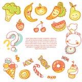 Ícones lisos redondos dos vegetais e dos frutos no coração Foto de Stock