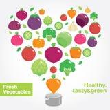 Ícones lisos redondos dos vegetais e dos frutos no coração Imagens de Stock Royalty Free