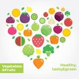 Ícones lisos redondos dos vegetais e dos frutos no coração Imagem de Stock