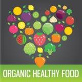 Ícones lisos redondos dos vegetais e dos frutos no coração Foto de Stock Royalty Free