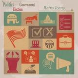 Ícones lisos retros do vetor da eleição Imagem de Stock Royalty Free