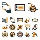Ícones lisos simples da cor para a e-bicicleta Foto de Stock Royalty Free