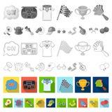 Ícones lisos ventile e do atributo na coleção do grupo para o projeto Ilustração da Web do estoque do símbolo do vetor do fã de e ilustração royalty free