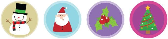 4 ícones lisos vol 2 do Natal Fotografia de Stock Royalty Free