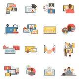 Ícones lisos webinar da colaboração da Web ajustados Imagens de Stock