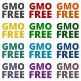 Ícones livres de GMO ajustados Fotografia de Stock Royalty Free