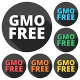 Ícones livres de GMO ajustados com sombra longa Fotos de Stock