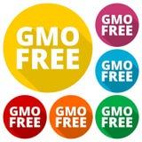 Ícones livres de GMO ajustados com sombra longa Imagens de Stock