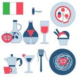 Ícones locais da cultura - Itália Ícones italianos tradicionais da culinária, com pizza, espaguetes com forquilha, garrafa de aze ilustração do vetor