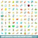 100 ícones logísticos e da entrega ajustaram-se, estilo dos desenhos animados ilustração do vetor