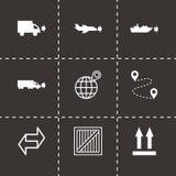 Ícones logísticos pretos do vetor ajustados Imagens de Stock Royalty Free
