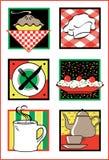 Ícones/logotipos do serviço de alimento ilustração royalty free