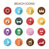 Ícones longos da sombra da praia Fotografia de Stock Royalty Free