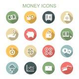 Ícones longos da sombra do dinheiro Imagem de Stock