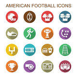 Ícones longos da sombra do futebol americano Imagens de Stock Royalty Free