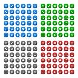 Ícones longos quadrados arredondados do estilo da sombra Imagem de Stock Royalty Free