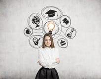Ícones louros do estudo da mulher e ampola Imagem de Stock Royalty Free