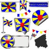 Ícones lustrosos com a bandeira de Flanders ocidental, Bélgica Fotografia de Stock