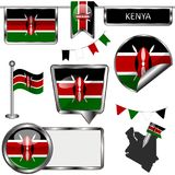 Ícones lustrosos com a bandeira de Kenya Foto de Stock Royalty Free