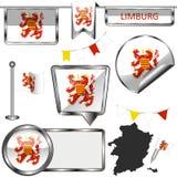 Ícones lustrosos com a bandeira de Limburgo, Bélgica Foto de Stock