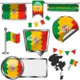 Ícones lustrosos com a bandeira de Los Angeles, CA ilustração stock