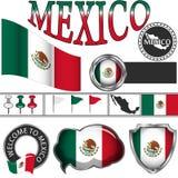 Ícones lustrosos com a bandeira de México Imagens de Stock Royalty Free