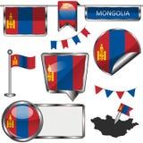 Ícones lustrosos com a bandeira de Mongólia Fotografia de Stock