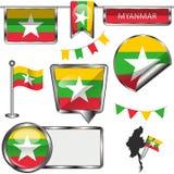 Ícones lustrosos com a bandeira de Myanmar Fotografia de Stock