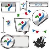 Ícones lustrosos com a bandeira de Seoul Imagem de Stock