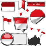 Ícones lustrosos com a bandeira de Viena, Áustria Fotos de Stock
