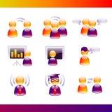 Ícones lustrosos de uma comunicação dos povos Fotos de Stock Royalty Free