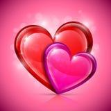 Ícones lustrosos do coração Fotografia de Stock