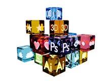 ícones lustrosos dos meios 3D Fotos de Stock Royalty Free