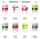 Ícones lustrosos Escandinávia (parte 1) Fotos de Stock Royalty Free
