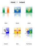 Ícones lustrosos Ireland Imagem de Stock Royalty Free