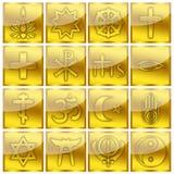 Ícones lustrosos religiosos do ouro dos símbolos da religião Fotografia de Stock Royalty Free
