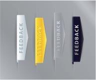 Ícones luxuosos do feedback da fita - setas para seu Web site. Ouro, si ilustração stock
