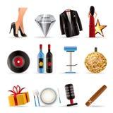 Ícones luxuosos do partido e da recepção Fotografia de Stock