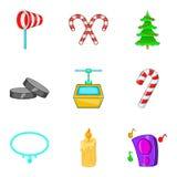 Ícones mágicos ajustados, estilo do fim de semana dos desenhos animados Fotografia de Stock