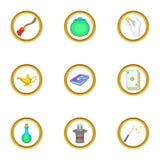Ícones mágicos ajustados, estilo dos artigos dos desenhos animados Fotos de Stock