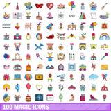 100 ícones mágicos ajustados, estilo dos desenhos animados Foto de Stock Royalty Free