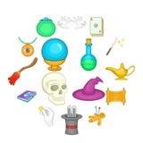 Ícones mágicos ajustados, estilo dos desenhos animados Foto de Stock
