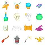 Ícones mágicos ajustados, estilo dos desenhos animados ilustração royalty free